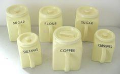 A set of kitchenalia Bristol Kitchenware storage jars by Pountney and Co Vintage Canister Sets, House Clearance, Ceramic Design, Jar Storage, Kitchenware, Bristol, Clock, Ceramics, Coffee