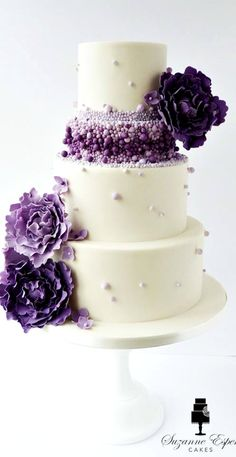 Purple ombre beaded wedding cake - Cake by Little Miss Fairy Cake Beautiful Wedding Cakes, Gorgeous Cakes, Pretty Cakes, Cute Cakes, Amazing Cakes, Unique Cakes, Elegant Cakes, Creative Cakes, Beaded Wedding Cake