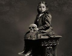 """In 1882 it was discovered that, rather than being the dark shrouded figure of legend, Death was actually an 8 year old girl. According to reports, she happily chatted while having her photograph taken before skipping off to collect a few more souls. Her departing words as she left the photography studio were, """"I'm a busy little bee today."""""""