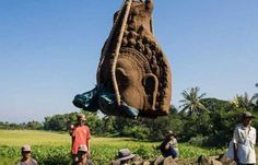 Three enormous statue heads unearthed at Banteay Chhmar temple, Cambodia A renovation of Banteay Chhmar temple in Cambodia left workers astounded after three enormous Angkorian-era statue heads were found under half a metre of soil – two intact and one broken.  The heads were part of a causeway depicting an ancient Hindu legend in which gods (devas) and demons (asuras) worked together to churn the ocean and release Amrita, the nectar of immortal life. -