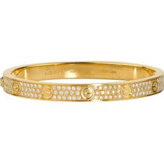 CARTIER Love 18ct yellow-gold and diamond bracelet ($45,230) ❤ liked on Polyvore featuring jewelry, bracelets, delete, diamond jewelry, yellow gold diamond bracelet, cartier bangle, diamond bracelet and pave bracelet