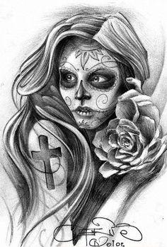 Lady of death by Fernandords Kunst Tattoos, Chicano Tattoos, Body Art Tattoos, Girl Tattoos, Sleeve Tattoos, Tatoos, La Muerte Tattoo, Catrina Tattoo, Skull Girl Tattoo