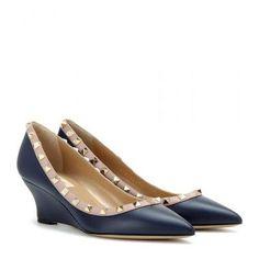 Valentino - Rockstud leather wedges #wedges #valentino #women #designer #covetme