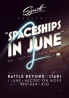 #poster #space #music #dj #party #80s #typography Synth Posters by Ian Jepson