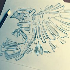 Sketching during lunch. Time to get back to work. #sketch #bird #sdart #sandiegoart #art #tattoo #pencil #wings #illustration #absorb81