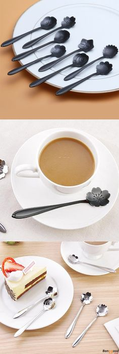 Epic Low Price + Free shipping. Black Stainless Steel Flower Shape Coffee Sugar Spoon Teaspoons Ice Cream Tableware. Add some fun to our life! >>> To view further, visit now.