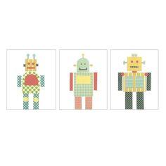 Nursery Wall Art PRINT - Three Robot Prints, Nursery Art, Children Decor, Children's Art, Robot Decor. $50.00, via Etsy.