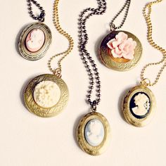 Cameo Locket Necklaces by NestPrettyThingsShop on Etsy