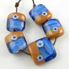 Handmade Lampwork Glass Beads Set in Brown and Blue  by beadbijoux, $17.00