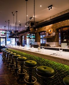Green Bar Stools and Tiles | Spitalfields | The Wright Brothers