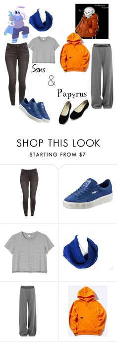 """""""UnderSwap Papyrus and Sansy"""" by the-gamer-girl ❤ liked on Polyvore featuring Puma and Monki"""