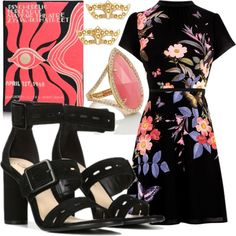 Head to the #hottestticketintown for an evening #atthetheater in a romantic #floraldress & elegant ankle strap Fergie #heels that serve up some drama of their own. #strappyheels #theaterthursday (Fergie Footwear: Black Suede FAME Dress Sandals on Polyvore featuring Olympia Le-Tan clutch and Kate Spade jewelry)