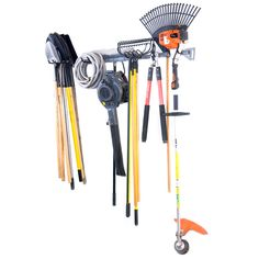 The Garden Tool Storage Rack allows you to store highly used items facing forward and tools you use less often facing backwards. This feature allows you to store 2 to 3 times more compared to other yard storage racks.