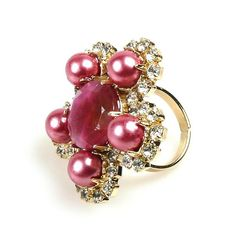Amazing rhinestones and glass beads ring, size of ornament part.. $14.90