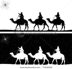 Vector silhouette graphic illustration depicting the three wise men on camels following the shining star of