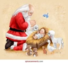 Santa prays with baby Jesus in the manger. Christmas Jesus, Christmas Nativity, Santa Christmas, Christmas Pictures, Vintage Christmas, Christmas Holidays, Christmas Crafts, Christmas Ideas, Christmas Things