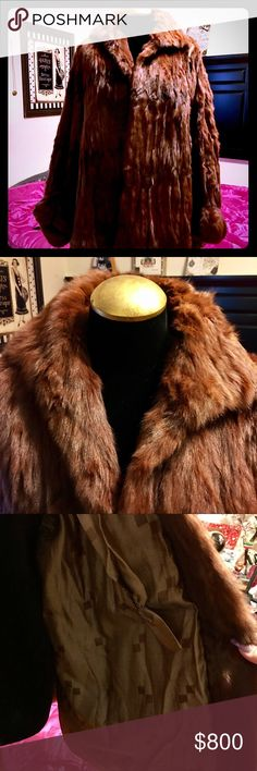 """⚜️Elegant long Mahogany Couture Harris Mink Coat This long and luscious full deep Mink coat """"Mink Stroller"""" is fabulous in every way, Mahogany, she drapes you in a full covered cut with polyester satin lining and cuff satin sleeves with hidden clasp closures and slit dual pockets, she has some wear as she was stowed away in storage for two years. Easily repaired at any Fur repair service. I've taken photos for full view, such a stunning piece. Originally retailed 5900. Selling at a below…"""