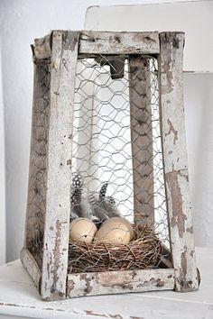 chippy, shabby, chicken wire basket