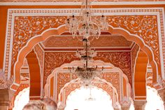 Coral and white architectural detail in India.