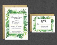 Printable Tropical Wedding Invitation + RSVP / Tropical Greenery Leaves Wedding Invitation Printable Suite / Modern Trendy Wedding Invite