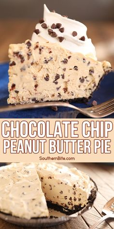 Chocolate Chip Peanut Butter Pie Frozen Desserts, Easy Desserts, Delicious Desserts, Yummy Food, Peanut Butter Desserts, Butter Pie, Pie Dessert, Sweet Recipes, Candy Recipes