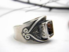 Rutilated Quartz Sterling silver ring Cocktail by nikiforosnelly