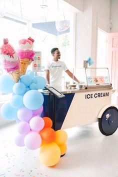 Balloon Installation, Balloon Backdrop, Balloon Centerpieces, Balloon Garland, Summer Ice Cream, Ice Cream Party, Tillamook Ice Cream, Ice Cream Balloons, Teenage Parties