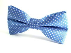Sky Blue with White Polka Dots - Bow Tie