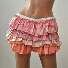 Pink Peach And Orange Ruffled Bootie Shorts Item 4260 by graziolin, $65.00