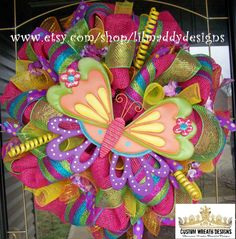 Bright Colorful Summer Butterfly Mesh Wreath by lilmaddydesigns, $105.00