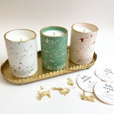 Hand poured soy wax candles in our hand painted ceramic pots.