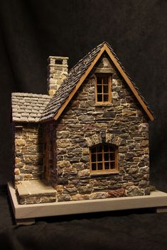 miniature stone cottage - Decoration Fireplace Garden art ideas Home accessories Stone Cottages, Stone Houses, Fairy Garden Houses, Fairy Gardens, Garden Art, Putz Houses, Paper Houses, Cardboard Houses, Miniature Houses
