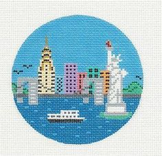 Painted Pony New York City NYC Handpainted HP Needlepoint Canvas or Ornament | eBay