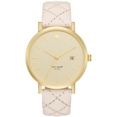 kate spade new york Women's Metro Grand Quilted Vachetta Leather Strap... ($195) ❤ liked on Polyvore featuring jewelry, watches, kate spade, kate spade watches and kate spade jewelry