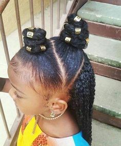 There are many cute hairstyles for both young and adolescent girls. Lil Girl Hairstyles, Natural Hairstyles For Kids, Braided Hairstyles, Trendy Hairstyles, Kids Natural Hair, Children Hairstyles, Toddler Hairstyles, Braids For Kids, Girls Braids