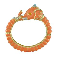 Kenneth Jay Lane Orange Elephant Bracelet | SOPHIESCLOSET.COM | Designer Jewelry & Accessories