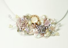 Blush Bridal Comb or Clip-Vintage Bridal Hair Clip- Floral Wedding Hair Piece- Blush Wedding Hair Accessories- Champagne pinkBrass Boheme on Etsy, $62.00