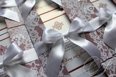 invitation with lace and ribbon