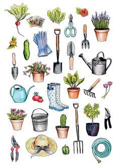 - Garden Care, Garden Design and Gardening Supplies Garden Care, Journal Stickers, Planner Stickers, Journal Cards, Garden Tool Organization, Line Tools, Doodles, Garden Drawing, Plant Drawing