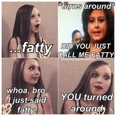 I laughed too hard at this. Maybe because Maddie would NEVER say that to Abby or because Maddie's faces are perfect!! We all know how great her facial expressions are lol:)