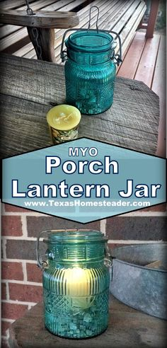 I used an old broken flip-top jar, some gravel, wire, and a small votive candle to make the cutest porch lantern ever. Come see! #TexasHomesteader