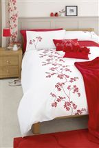 Red Blossom Embroidery Duvet And Pillowcase Set