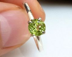Peridot Ring -  August Birthstone Ring - Green Peridot Promise Ring - 5mm Gemstone Ring - Green Gemstone Ring -  Gemstone Stacking Ring