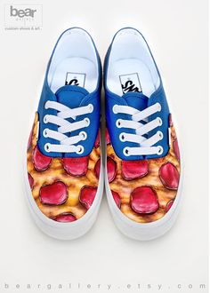 b522537802 Custom Painted Pizza Vans Shoes - Hand Painted Pizza Shoes - Pepperoni Pizza  Pattern