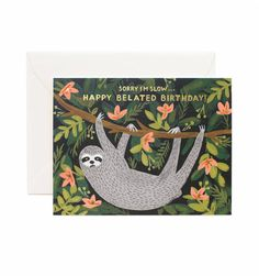 Sloth Belated Birthday available as a single folded card or a boxed set of 8