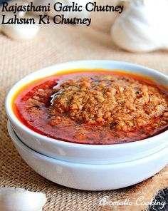 Aromatic Cooking: Rajasthani Garlic Chutney, Lahsun Ki Chutney Ingredients: 2 pods of whole garlic to cup oil for frying 2 tsp red chilli powder tsp turmeric powder 1 tsp coriander powder tsp whole cumin seeds Salt to taste Veg Recipes, Curry Recipes, Vegetarian Recipes, Cooking Recipes, Healthy Recipes, Recipies, Aloo Recipes, Healthy Treats, Indian Chutney Recipes