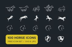a vectorized set of horse icons that can be used freely in personal and commercial projects