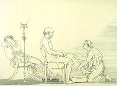 """Euriclea riconosce Ulisse """" Euriclea nondimen, che già da presso fatta gli si era ed il suo re lavava, il segno ravvisò della ferita..."""" ( libro XIX, 467-469)"""