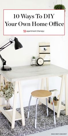 Need a desk ASAP or looking for a way to squeeze another workspace into your home? Most of these desk ideas are so easy to make the inspiration image alone is all the how-to youll need. Cozy Home Office, Chic Office Decor, Home Office Desks, Dining Room Inspiration, Home Decor Inspiration, Desk Ideas, Office Ideas, Design Your Dream House, Modern Desk