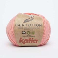 Katia Fair Cotton Fb. 06-Coral, hilo de algodón, algodón orgánico, algodón orgánico para punto y ganchillo